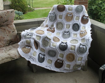 Handmade Owl Blanket - Made to order Baby Blanket or Adult Throw