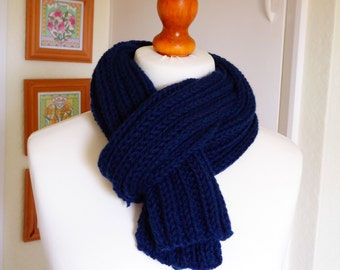 Chunky hand knitted navy blue scarf in a premium wool and alpaca mix yarn