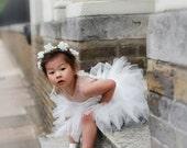 Mia flower girl dress ivory couture flower applique mini bridesmaid ballerina tutu dress
