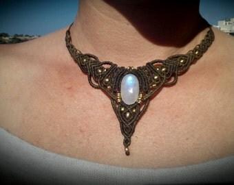 Moon stone macrame necklace chic jewellery by Mani macrame