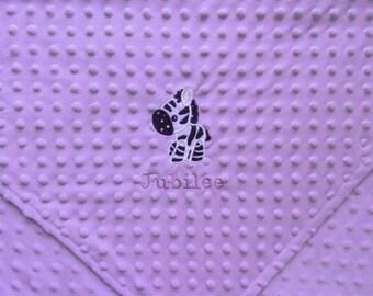 Purple and zebra minky baby blanket