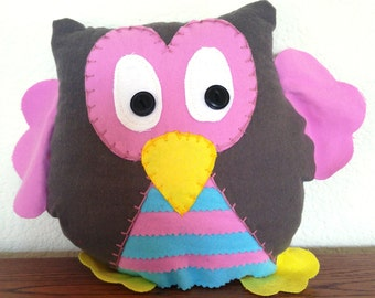 Stripped Owl Plushie: Grey, Pink & Blue