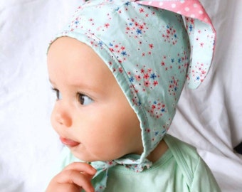 Pastel blue floral baby bonnet