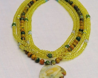 Multi-row yellow agate, silver and Austrian Crystal Necklace solid 925
