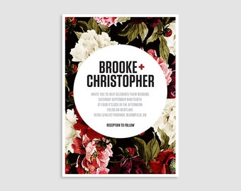 The Brooke Wedding Invitation Suite - printable, feminine, red, pink, floral, wedding invitation