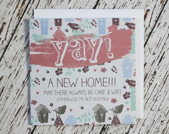 YAY! A New Home - Funny New Home Card - Housewarming Card - Moving Card - New House Card - New Pad Card - New Home Card