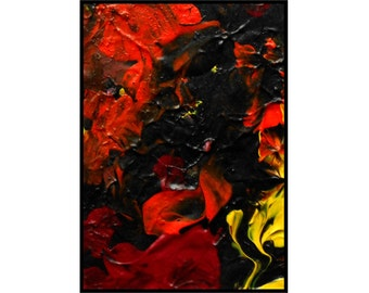 Original ACEO ATC Acrylic Miniature Painting Modern Art Fire Black Red Orange - Embers by Caerys Walsh