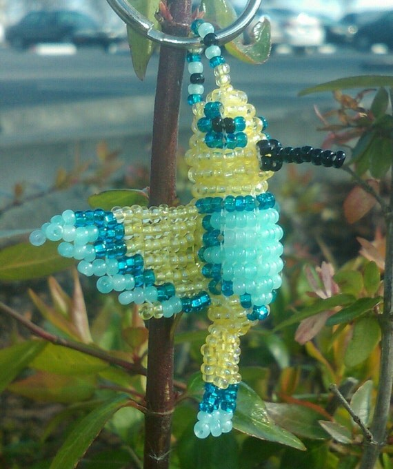 3D Handmade Czech glass bead Yellow and Teal Hummingbird Keyring.