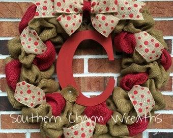 """18"""" Camel Burlap & Red Polka Dot Initial Wreath"""