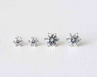 Solitaire Earrings 925 Sterling Silver Dainty Stud Earrings