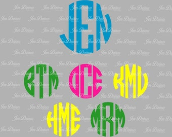 Circle Monogram SVG DXF, Monogram Letters, SVG files for Cricut Silhouette, svg files, Cutting Files, Monogram font, instant download