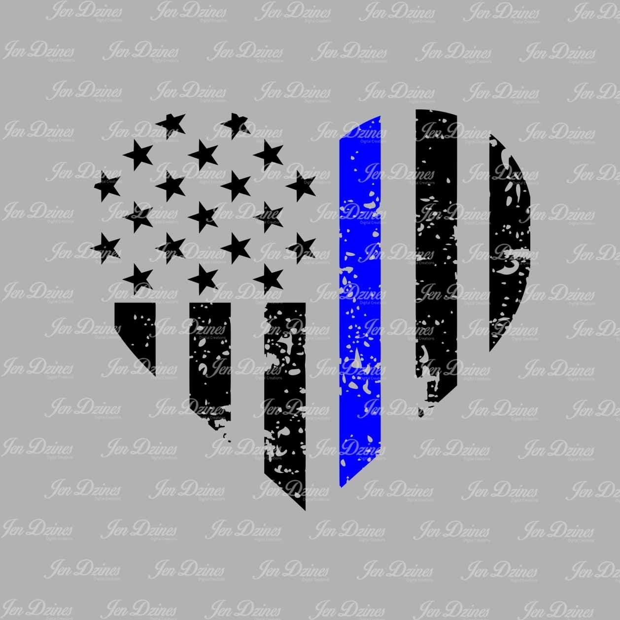 Blue Line Distressed Heart Svg Dxf Eps Police Heart Design