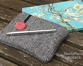 Harris Tweed Black and White Purse with Tartan Print Lining
