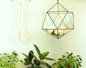 Hanging Icosahedron 3 sizes/ Geometric Glass Terrarium / Stained Glass Terrarium / Handmade Glass Terrarium
