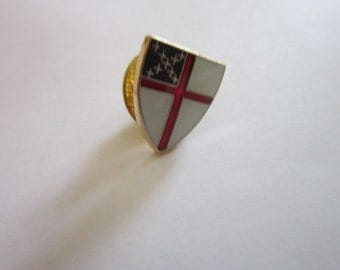 Vintage Enameled and Gold Tone Pinback Shield