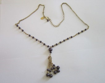Vintage Gold Tone and Faux Black Pearl Worthington Necklace - Pretty!
