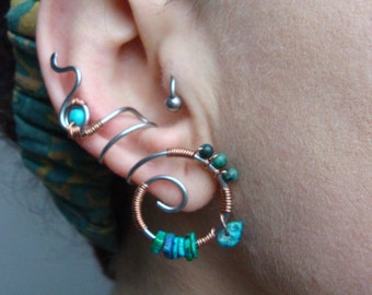 Stainless steel tribal, spiral earcuff with turquoise beads