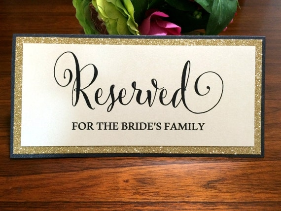 Wedding Reserved TAble Signage. Black And Gold Reserved Signs