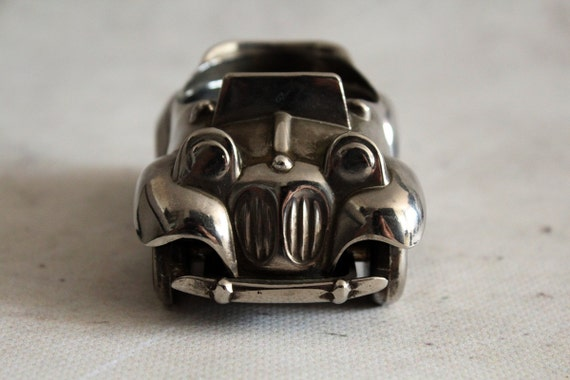 vintage car silver plated car noddys car egg cup made