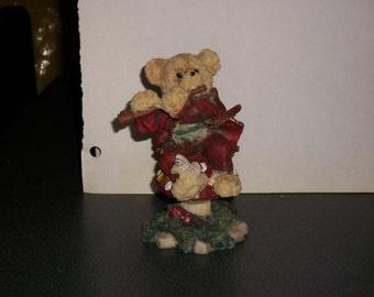 Fairy Garden, flute playing bear. 5 1/2 inch tall Polyresin figurine.