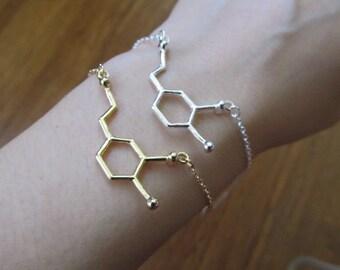 Reversible Dopamine bracelet, bridesmaid bracelet, dopamine molecule bracelet, bridesmaid gift, best friend gift, chemistry science jewelry