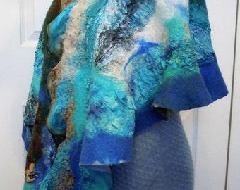 Handmade nunofelted superfine merino wool long scarf. Australian merino wool, silk. Turquoise, blue, green, brown