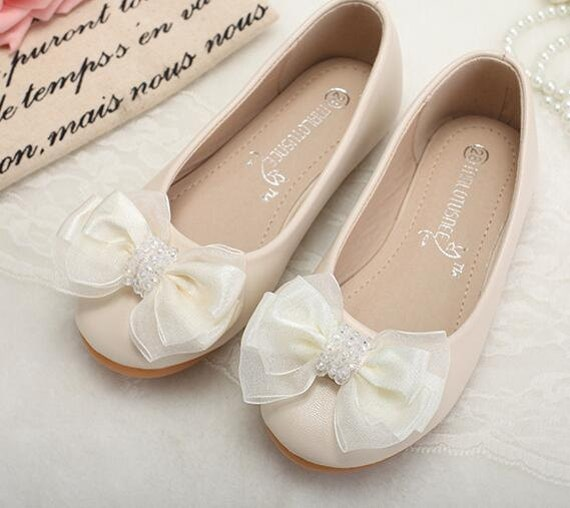 Ivory Flower Girl Shoes/ Toddler Girl Shoes/Bow Party