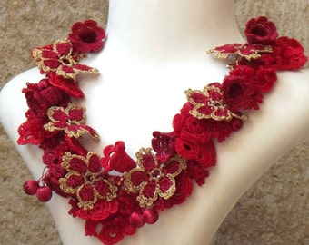Turkish OYA Lace - Necklace - Bijou - Red & Gold