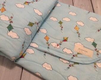 Baby quilt, gender neutral baby quilt, handmade baby quilt, Minky quilt, kite baby quilt, crib quilt, modern baby quilt, baby shower gift