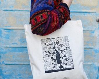 Hand printed tree tote bag. lino print on cotton shoulder bag, african tribal inspired art tote bag