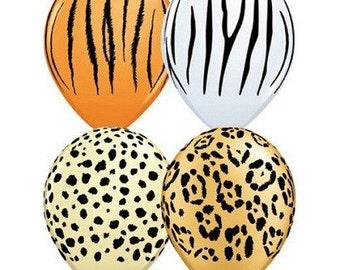 Jungle Safari Balloons, Zebra Stripe, Tiger Stripe, Leopard Print, Cheetah Print Balloons for Birthday Party, Kids Party, Party Decorations
