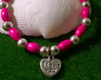 Charm bracelet~ pink & silver~I Love You ~ silver heart