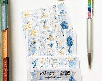 Seahorses Page Flag Stickers, 40 Count