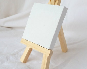 """Stretched Canvas Blank, 3"""" x 3"""" mini stretched canvas and 5"""" tall mini easel, DIY mini canvas Art kit"""