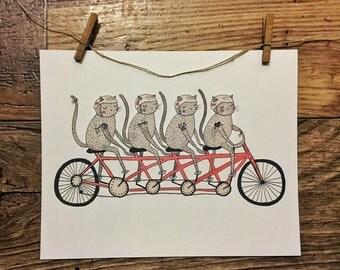Tandem bicycle Cat Gang - Original Watercolor Illustration || Print