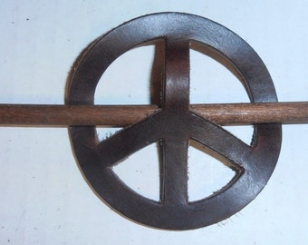 Vintage Leather Peace Sign  Stick Barrette / Hair Accessory