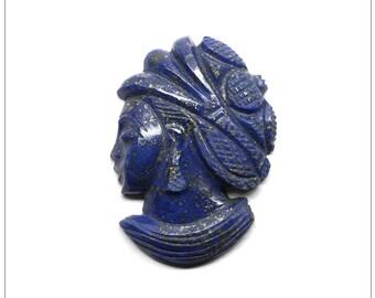 Beautiful Pyrite-Rich Natural Lapis Woman Cameo