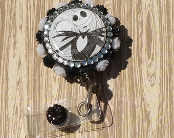 Black and white jack badge reel /id holder