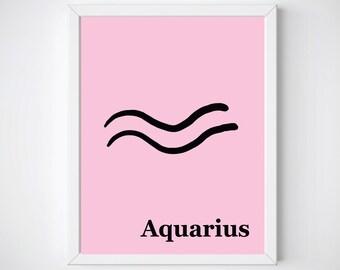 Astrology Wall Art,  Zodiac Aquarius Prints, Printable Art, Horoscope Art, Digital Print, Zodiac Sign Art, Girl Nursery Decor , Gift for Her