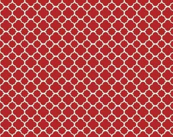 French Country Roosters, Chicken wire fabric, Red Background by Red Rooster Fabrics, 25528