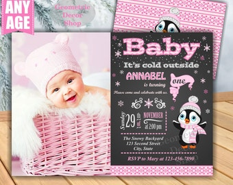 Baby it's cold outside Birthday invitation Pink Penguin Winter Wonderland invite Onederland Girl Chalkboard First Photo Photograph BDW5