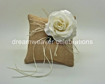 Rustic ring bearer cushion/pillow, Bridal and wedding accessories.