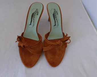 """Belle by Sigerson Morrison """" Made in Italy"""" Slip -ons Warm Brown Open Toe Suede High Heels Size 9 B"""