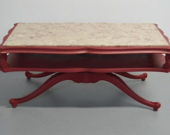 SOLD --- Very Stylish Burgundy Coffee Table with marble top / CT615