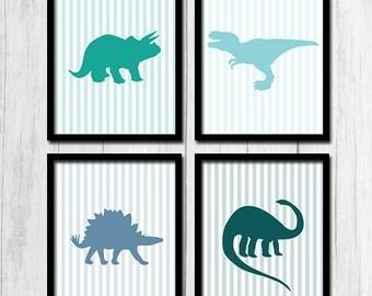 Blue Wall Art Digital Download Teal Wall Art Kids Decor Blue Printable Light Blue Art Dinosaur Printables Children's Wall Art Pinstripes