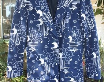 Groovy Bleyle for Hooper 70s blazer in blue floral design