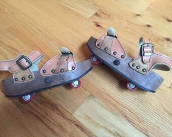Rare Vintage Omniac 70's platform wedge roller skate sandals size 8