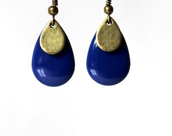 Sequin blue enamel earring