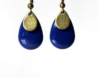 Blue enamelled sequin earrings