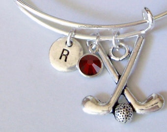 GOLF CLUBS Bangle Bracelet  W/ A Birthstone - Initial  Under Twenty / Sports Team Gift  Usa G1